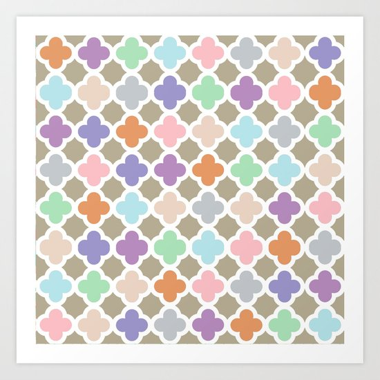 Girly Moroccan Quatroil Pattern Cute Pastel Colors Art Print