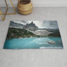 Mountain view with lake Sorapis in the Italian Dolomites Rug