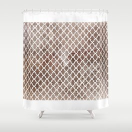 Coffee Trellis Pattern Shower Curtain