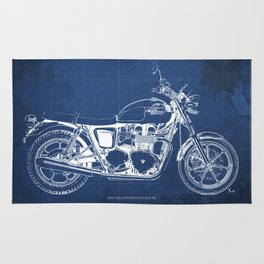 2010 Triumph Bonneville SE, motorcycle blueprint, husbands gift, offer, original poster, fathers day Rug
