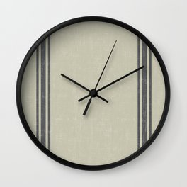 Grey Stripes on Linen color background French Grainsack Distressed Country Farmhouse Wall Clock