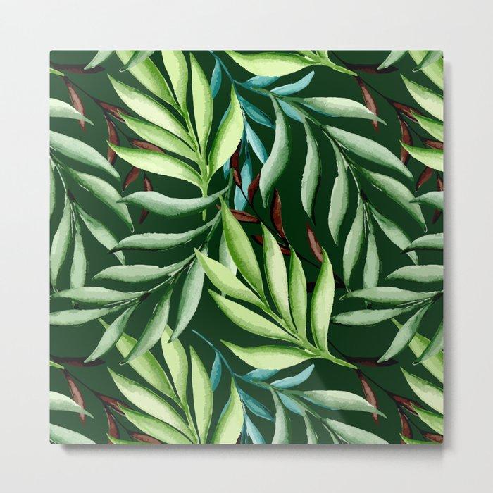 Leaf pattern. Watercolor Metal Print