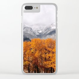 Autumn Mountain Snowfall Clear iPhone Case