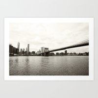 brooklyn bridge Art Prints featuring Brooklyn Bridge by Caroline Mint