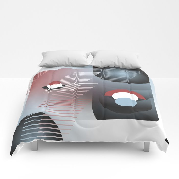 Abstract composition with shapes and colors 074 Comforters