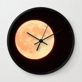 Orange Moon Wall Clock
