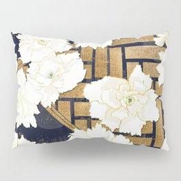 Navy Herringbone with Peony Flowers Print Pillow Sham
