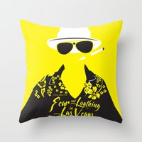 fear and loathing Throw Pillows featuring Fear and Loathing in Las Vegas by Jordi Hayman Design