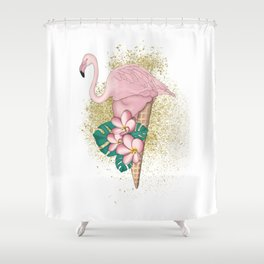 Flamingo Ice Cream With Gold Shower Curtain