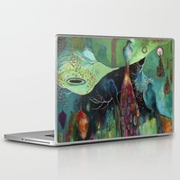 "flora bowley Laptop & iPad Skins featuring ""Light Trio"" Original Painting by Flora Bowley by Flora Bowley"
