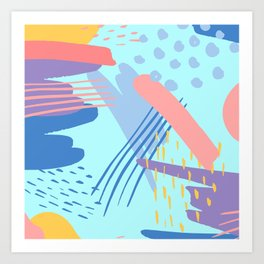 minimalist abstract painting colorful aqua blue mint purple pink pastel   Art Print