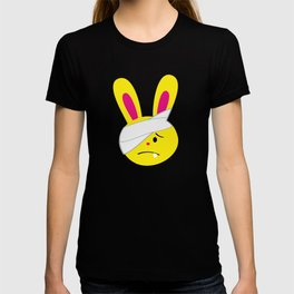One Tooth Rabbit Emoticons Bunny Face with Head Bandage T-shirt