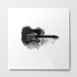 black and white electric guitar Metal Print