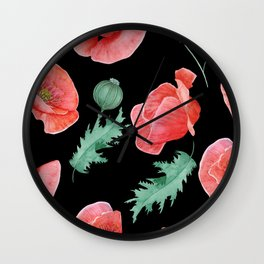 Seamless texture of red poppies on a black background. Wall Clock
