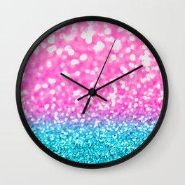 Aqua & Magenta Glitter Bubbles Wall Clock