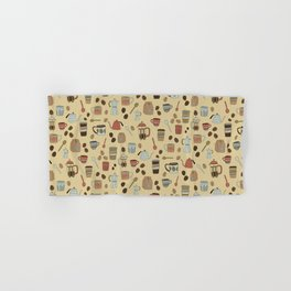 Coffee Love Patten / Cute Coffee Design / Caffeine Addict / Coffee Art / French Press / Coffee Shop Hand & Bath Towel
