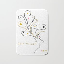 Typographic Reindeer Love - White Bath Mat