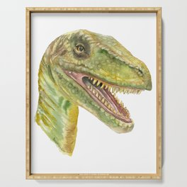 Velociraptor Watercolor Painting Serving Tray