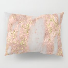 Rose Gold Marble with Yellow Gold Glitter Pillow Sham