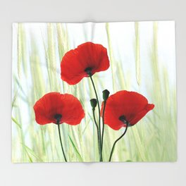 Poppies red 008 Throw Blanket