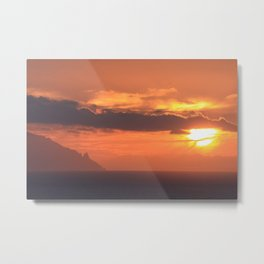 sunset over Tenerife islands Metal Print