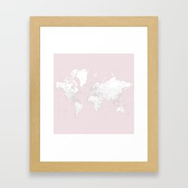 World map, highly detailed in dusty pink and white, square Framed Art Print
