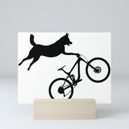 funny MTB mountain bike cycling dog lover gift Mini Art Print