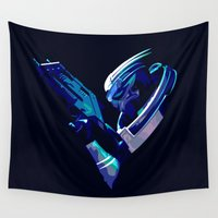 mass effect Wall Tapestries featuring Mass Effect: Garrus Vakarian by Fiona Ng