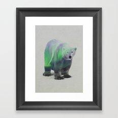 Polar Bear In The Aurora Borealis Framed Art Print