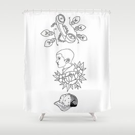 Science Fiction Character Illustration Shower Curtain