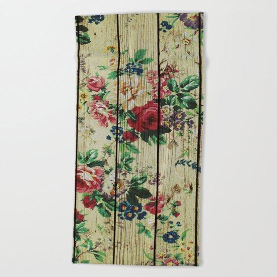 Flowers on Wood 01 Beach Towel