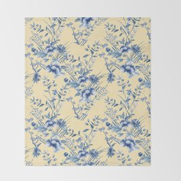Chinoiserie Flowers Blue on Lemon Honey Creme Throw Blanket