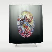shiva Shower Curtains featuring Shiva Shakti by Harsh Malik