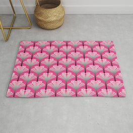 Art Deco Lily, Fuchsia Pink and Silver Gray Rug