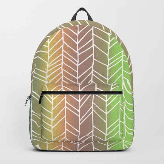 Colorful Rainbow Feather Pattern Backpack