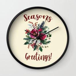 Seasons Greetings Christmas Red Berry Floral Wall Clock