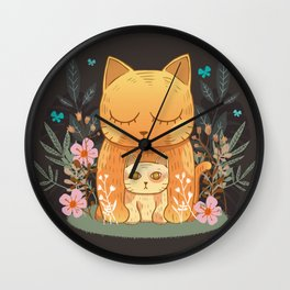 Little munchkin cat and flowers Wall Clock