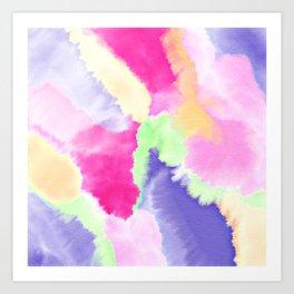 Modern bright pink purple green hand painted watercolor wash pattern Art Print