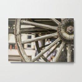 Calgary Stampede Chuck Wagon Wheel with Cobwebs Metal Print