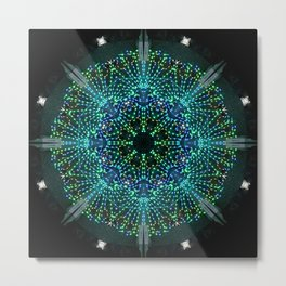 Kaleidoscope fantasy on lighted peacock shape Metal Print