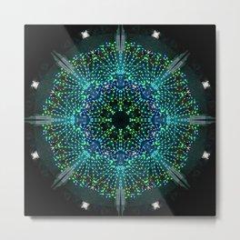 Kaleidoscope fantasy on lighted peacock shape Metal Print