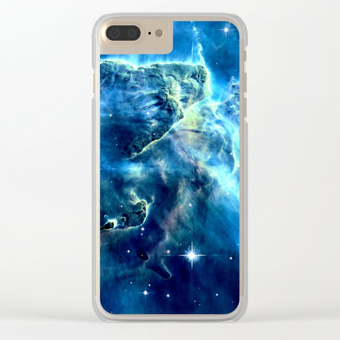 GALAxY Mystic Mountain Blue Clear iPhone Case