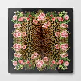 Rose around the Leopard Metal Print
