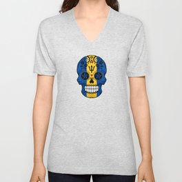 Sugar Skull with Roses and Flag of Barbados Unisex V-Neck