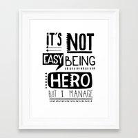 hero Framed Art Prints featuring hero by ulas okuyucu