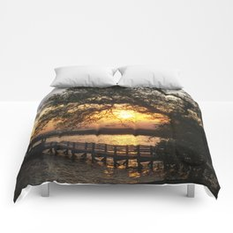 Sunset on the Sound in Corolla North Carolina Comforters