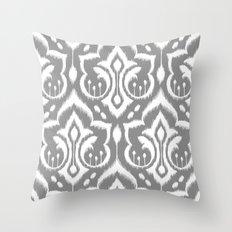Ikat Damask Gray Throw Pillow