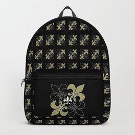 Fleur de lis ...gold, black, white Backpack