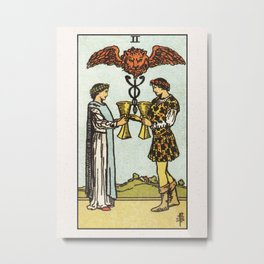 TWO OF CUPS / WHITE Metal Print