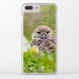 Owl in Flowers Clear iPhone Case